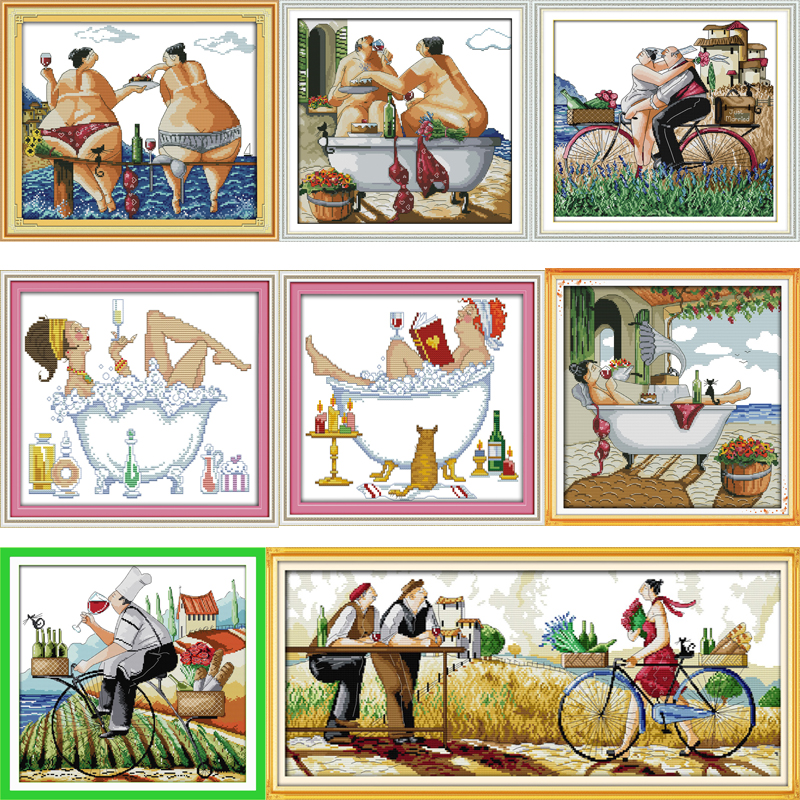 Joy Sunday Enjoy life Series,Counted Printed on Fabric DMC 14CT 11CT Cross Stitch kits, Embroidery Needlework Sets Home Decor