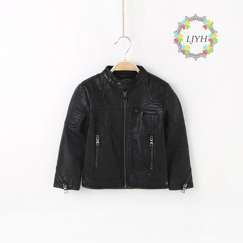 Baby Boys Stand Collar Leather Jacket Boys Casual Black Children Outerwear Kids Girls PU Coats Spring Moto Jackets Cardigan