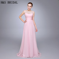 HS10 Best Selling Pleated Beaded Woman Dress Chiffon Pink Evening Dress V Back With Straps Evening