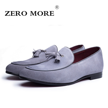 ZERO MORE Split Leather Men Shoes Casual Tassel Slip On Loafers Moccasins Soft Breathable Suede Men's Shoes Drivings #ZM103