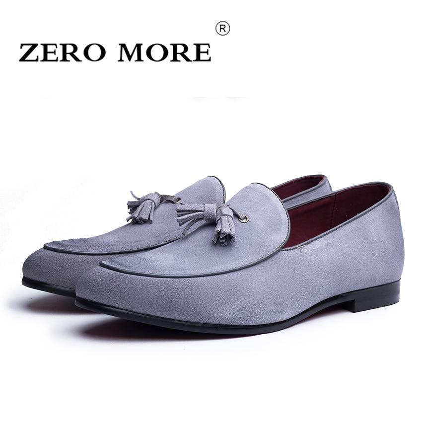 ZERO MAIS Dividir Sapatas Dos Homens da Camurça de Couro Borla Casuais Deslizar Sobre Mocassins Mocassins Macios Respirável Sapatos Dos Homens da Camurça de Expulsões