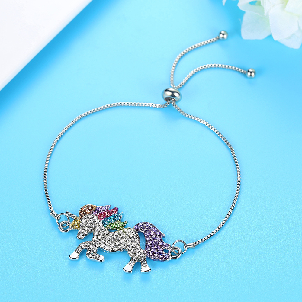 Милое ожерелье с единорогами, модные украшения в виде лошади из мультфильма, аксессуары для девочек, детские, женские вечерние браслеты с подвеской в виде животного