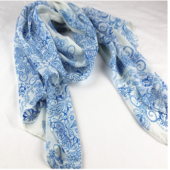 Chiffon Scarf Women Blue And White Slik Scarf Female Designer Brand Ladies Scarves 2019 Shawl Foulard Femme Scarfs Spring Summer Scarves & Wraps