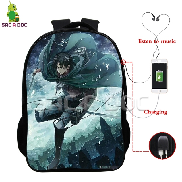f85d4c9dac93 Attack on Titan Scoutine Legion Eren Levi Backpack Multifunction USB  Charging Headphone Jack Laptop Bags Boys Girls Schoolbags