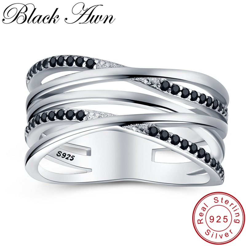 [BLACK AWN] 925 Sterling Silver Jewelry Wedding Rings For Women Female Bijoux Silver 925 Jewelry Hollow Finger Ring G063