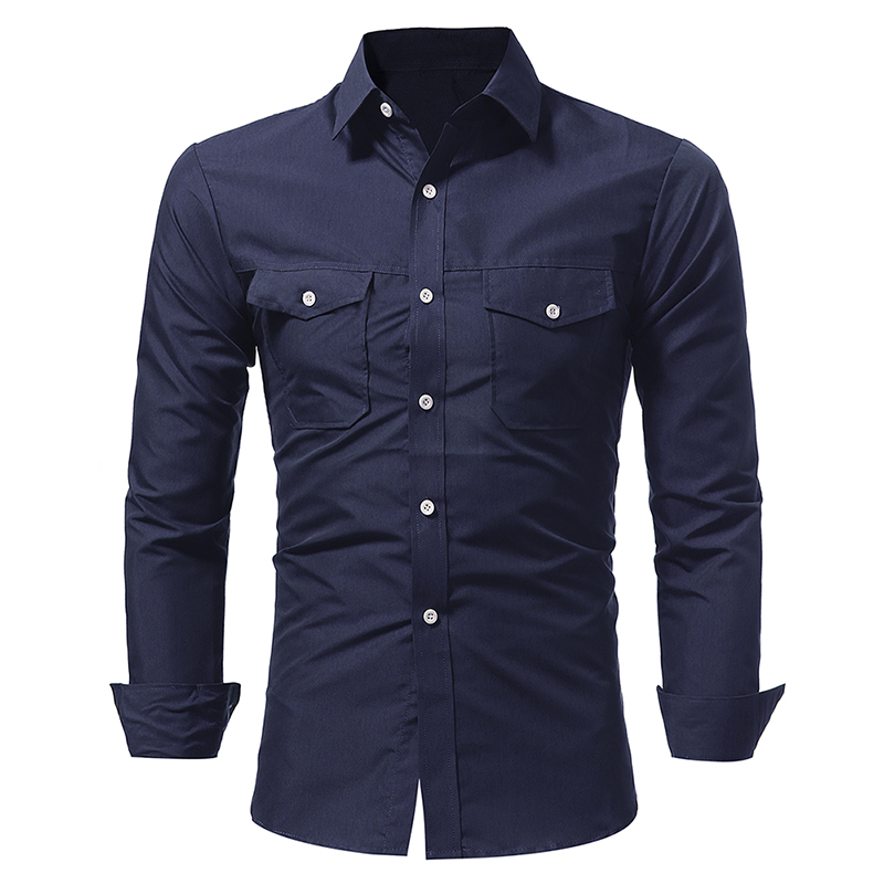 Men Shirt 2018 New Fashion Classic Double Pockets Shirt Men Long Sleeve Solid Color Slim Fit Shirt Chemise Homme in Casual Shirts from Men 39 s Clothing