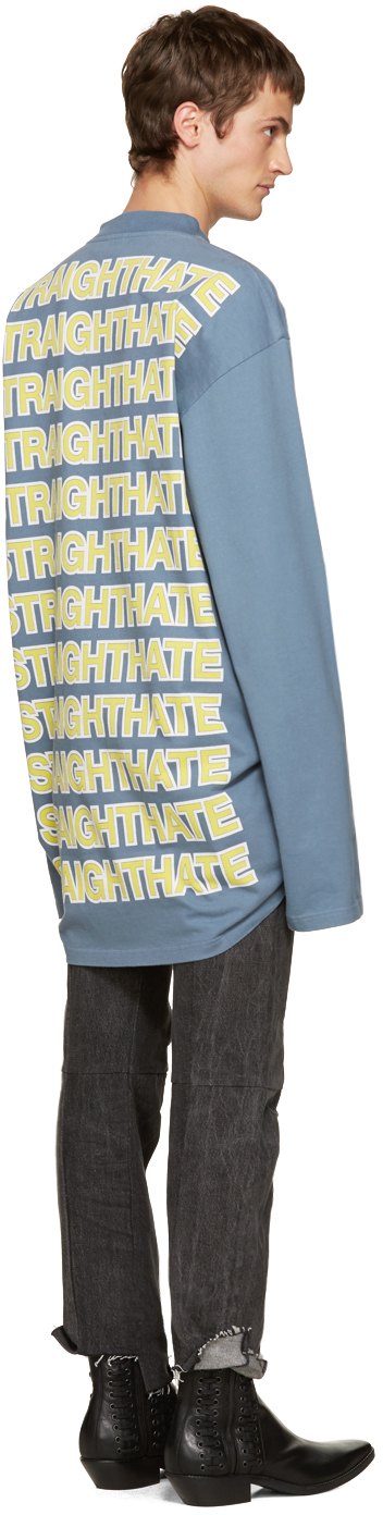 16ss mens Vetements Blue Straight Hate T-Shirt Long sleeve <font><b>cotton</b></font> jersey t-shirt in blue. <font><b>Rib</b></font> knit <font><b>crewneck</b></font> collar