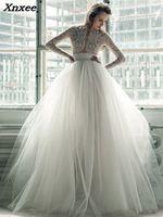 Винтаж кружево богемное платье для свадьбы одежда с длинным рукавом жемчуг летние пляжные Boho невесты платья женщин 2018 vestido de novia trompeta Xnxee