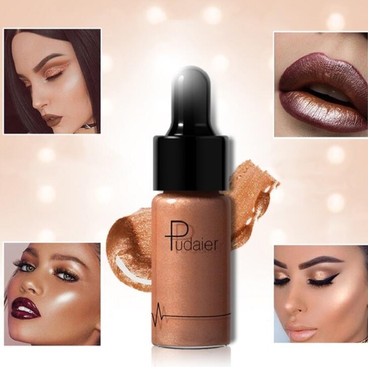 Pudaier Liquid Highlighter 12 colors Make Up Oil Illuminating Concealer Shimmer Shine Lips Face Glow Bronzer Highliter Primer