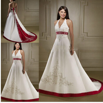 Traditional Embrodery Bridal Gowns Halter Corset Back Cheap Red And White  Wedding Dresses In Wedding Dresses From Weddings U0026 Events On Aliexpress.com  ...