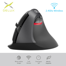 Delux M618 Mini 2.4GHz Ergonomic Vertical Mouse Wireless Gaming gamer 1600 DPI Silent Mice for PC