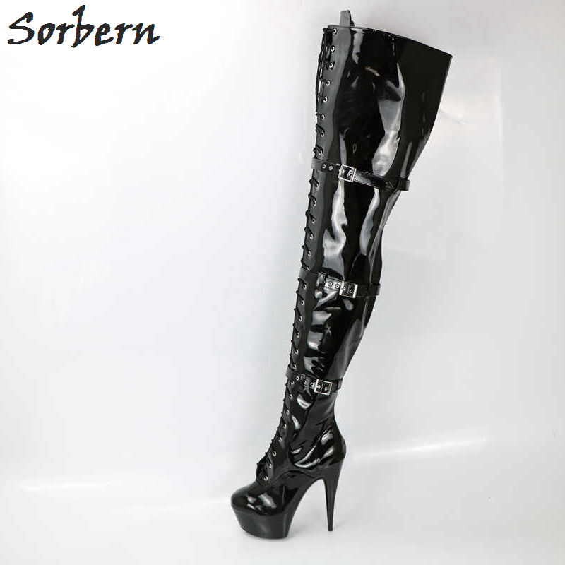 7dd96527f7a Sorbern Sexy Shiny Over The Knee Thigh High Boots For Womem Custom Leg  Measurement Super High Heel 15Cm 17Cm 20Cm Long Lady Boot-in Over-the-Knee  Boots from ...