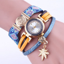 2019 Fashion  Watch Women Retro LeatherWinding Bracelet Leaf Pendant Vintage Relogio Feminino часы жен