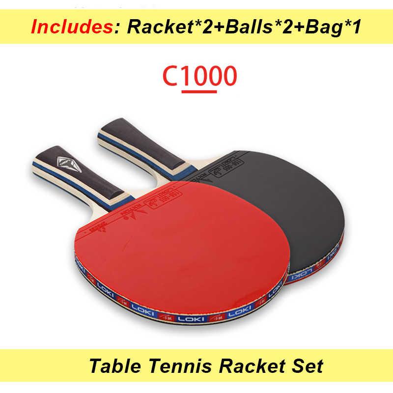 LOKI C1000 2pcs Table Tennis Racket Set Children Training Pingpong Bat New Beginner Ping Pong Racket with 2 Balls and Bag