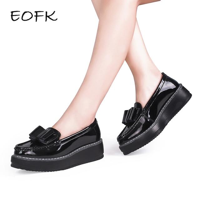 EOFK Mujer Zapatos mujer negro patente de cuero deslizamiento en Arco-Nudo Casual mocasines mujeres bajo arco zapatos de plataforma