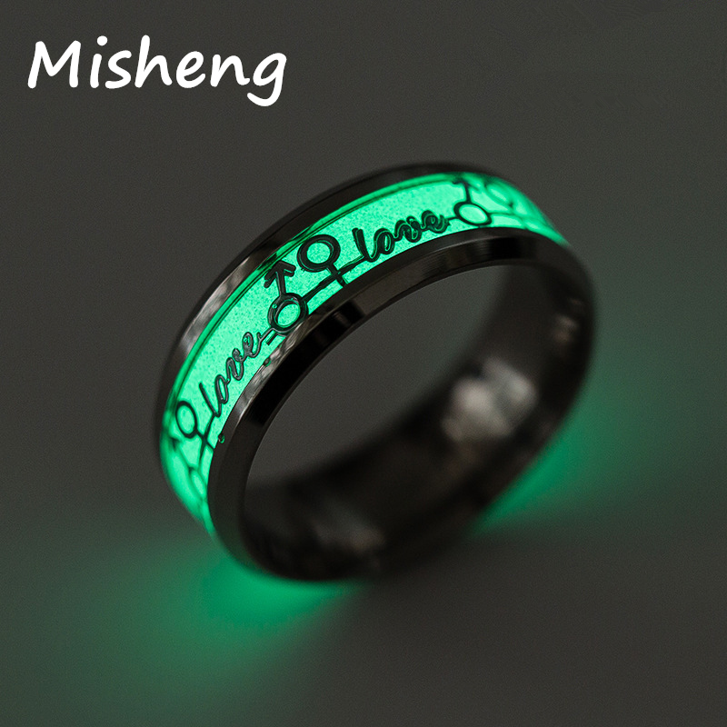 Misheng Personality Luminous Ring Letter love Pattern Green Background Fluorescent Glowing Silver Gold Pop Men 39 s Ring Jewelry in Rings from Jewelry amp Accessories