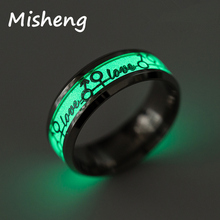 Misheng Personality Luminous Ring Letter love Pattern Green Background Fluorescent Glowing Silver/Gold Pop Mens Jewelry