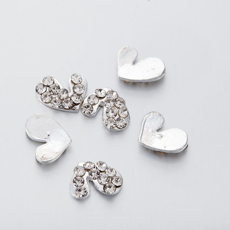 10Pcs 3D Nail Decoration Sticker Metal Heart shape Rhinestones Nails Charms Diamonds For Manicure Decor in Rhinestones Decorations from Beauty Health