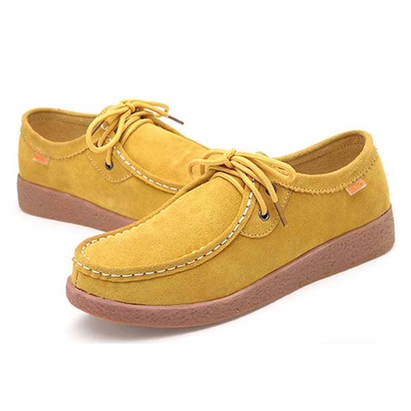 Hot Fashion Spring Rubber Lace-up Women Casual genuine   leather   Flats Fashion Outdoor Office Leisure   Suede   Women Shoes, Yellow