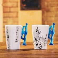 Schöne Musik Blau Trompete Porzellanbecher 240 ml Keramik Kaffee tee Tasse Porzellan Zakka Neuheit Für Geschenk Cafe Teatime Büro Decor