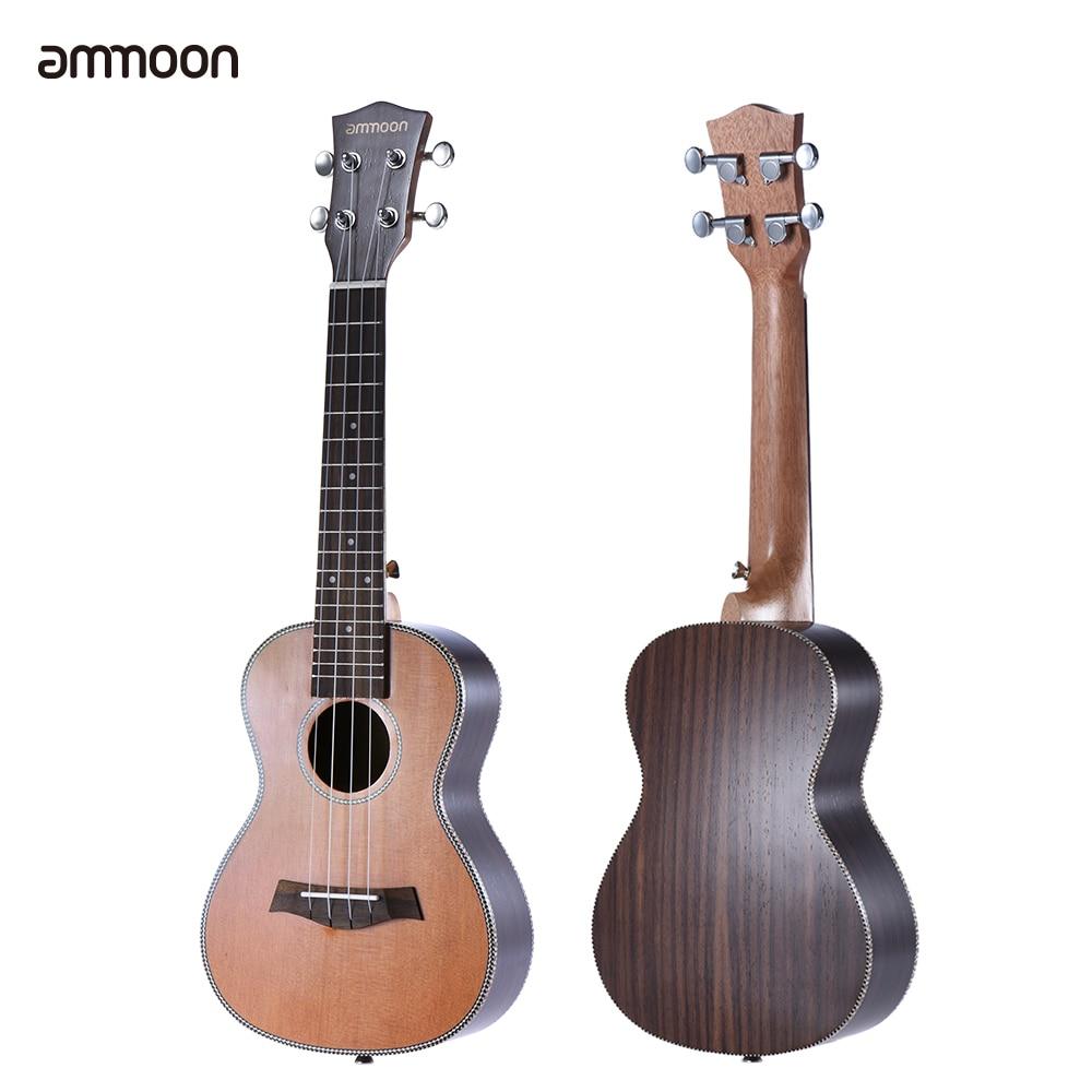ammoon 24 Ukelele 18 Frets 4 Strings Korean Pine Acoustic Concert Ukulele Uke Wooden Okoume Neck