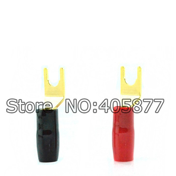 Audio Grade Gold Plated Spade for Speaker cable Y terminal adapter