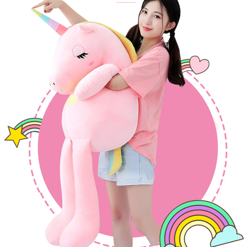 60-160cm Unicorn Plush Toys Cute Rainbow Horse Soft Doll Unicorn Stuffed Animal Soft Toy Pillow For Children Gift For Girlfriend