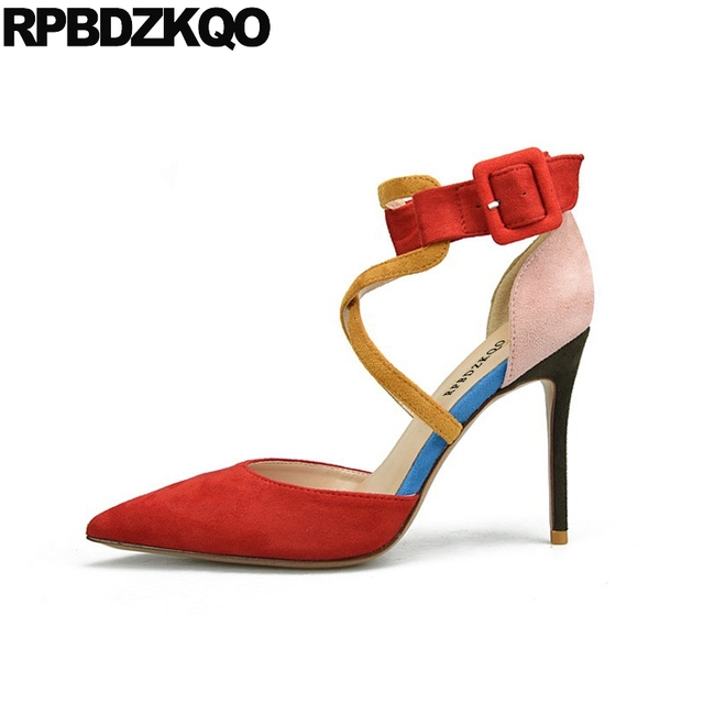 c01f0b58d96b Size 33 Cross Strap Orange Pumps Shoes Pointed Toe Peach Ladies Plus Multi  Colored Thin Ankle Suede High Heels 10 42 Sandals