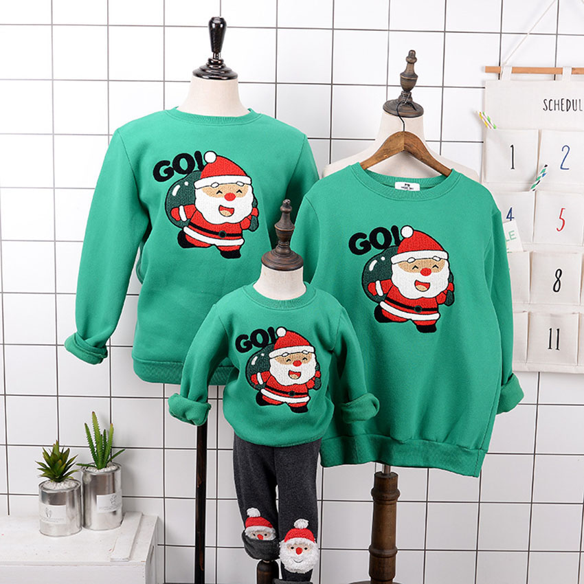 14Colors Family Matching Clothes Parent-child Mommy and Me Outfits Kids Christmas Hoodies Cartoon Santa Claus Winter Sweatshirts