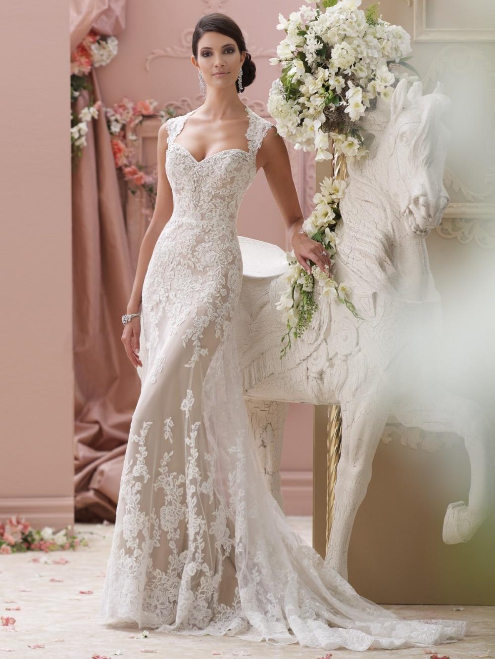 Beautiful New Model Lace Appliques Open Back Mermaid Wedding Dress 2015 Amanda Novias