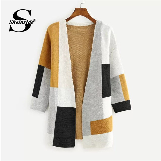 f1c0fed9d89 Sheinside Colorblock Open Front Sweater Cardigan Women Long Coat Multicolor Geometric  Long Sleeve Clothes Autumn Ladies Outwear