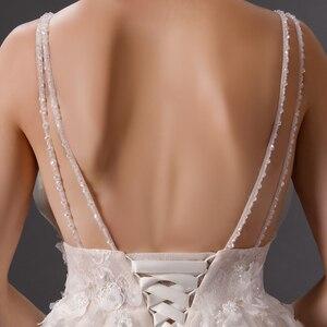Image 5 - SL 6077 derin boyun çizgisi gerçek fiyat dantel plaj düğün elbisesi 2019 sposa uzun tren tül vestido boho düğün gelin kıyafeti artı boyutu