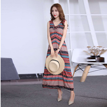 2019 Summer Women Long Dress Casual National Wind Floral Print Dress V Neck Sundress Sleeveless Lady Vintage Beach Holiday Dress 1