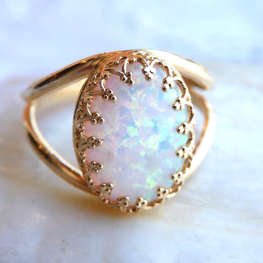 100% naturel Austrialian opale de feu forme ovale 10*14mm anneau de pierres précieuses en or Rose 14k avec boîte-cadeau