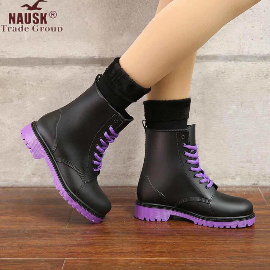 NAUSK bottes de pluie femme chaussures imperméables femme chaussures d'eau caoutchouc à lacets PVC Martin bottes couture solide mode bottes de pluie