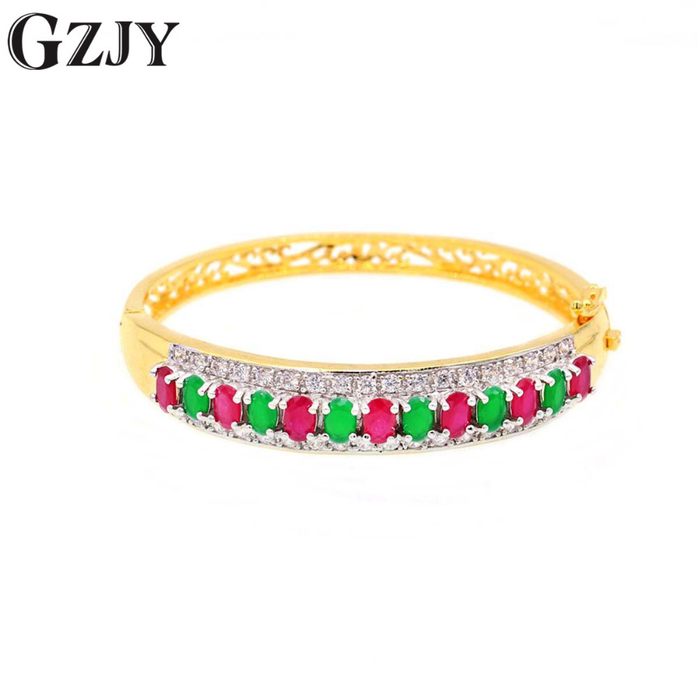 GZJY Fashion Oval Red&Green Zircon Bracelets Double Gold Color Bracelet Bangle For Women Female Wedding Party Gifts Jewelry pair of elegant faux gem zircon oval floral bracelet for women