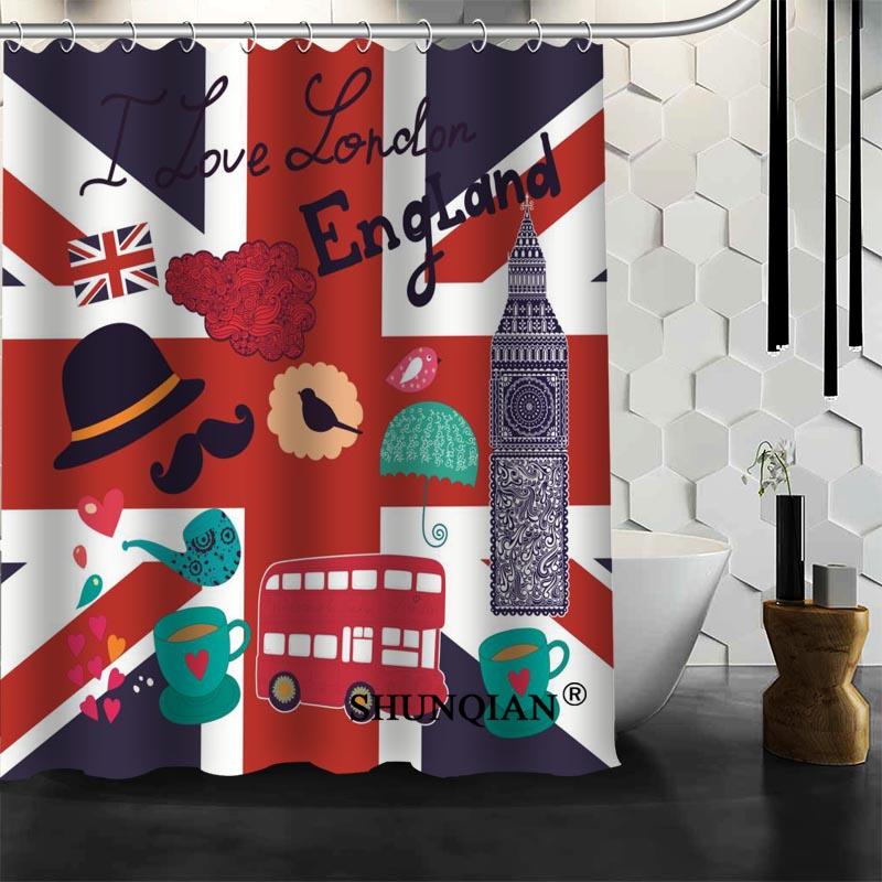 Best Nice Custom Lodon England Shower Curtain Bath Curtain Polyester Fabric Bathroom Curtain MORE SIZE A6.1-39