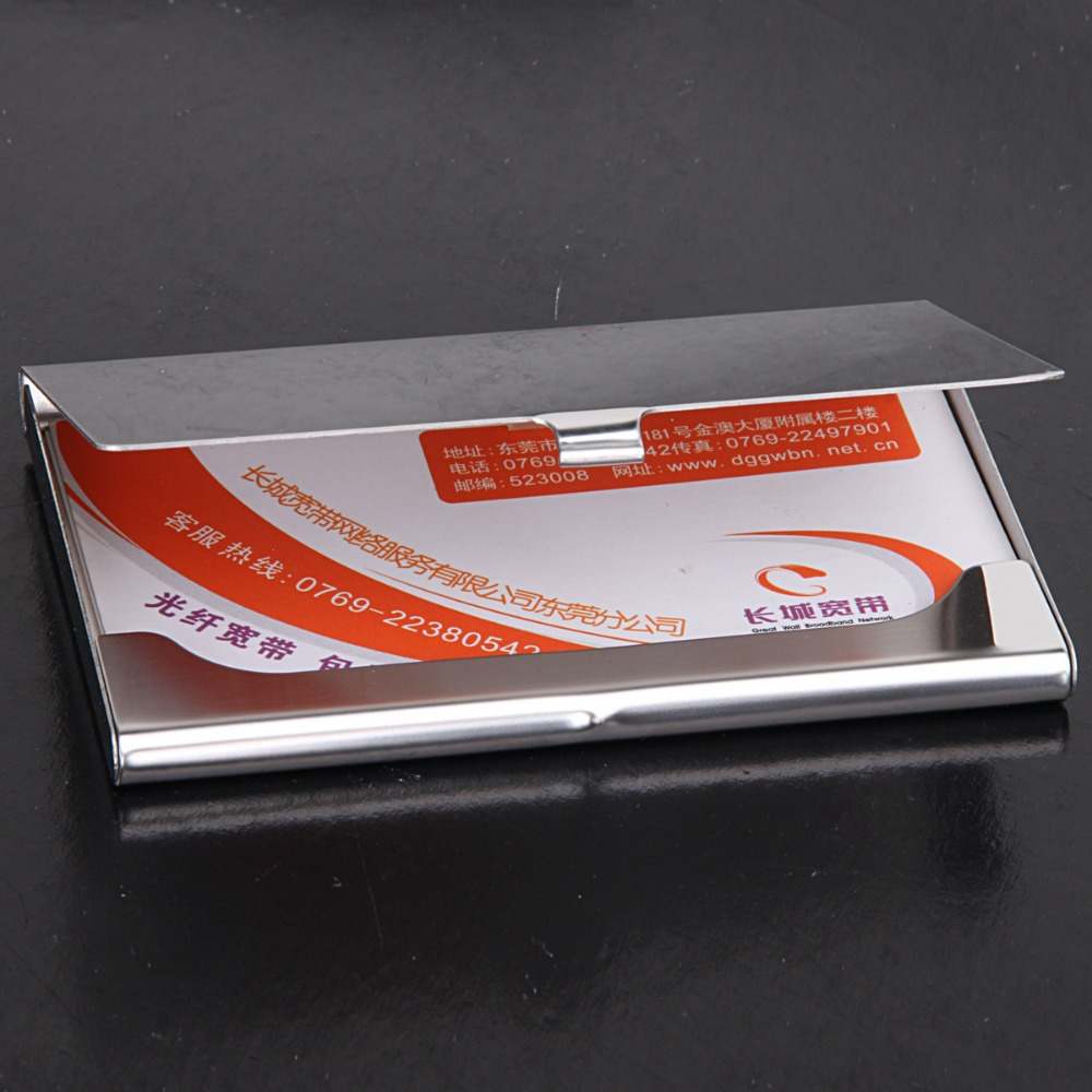 Wholesale 10pcslot factory sale stainless steel name card case wholesale 10pcslot factory sale stainless steel name card casemirror cover business card holder print laser logo nms005 in card id holders from luggage magicingreecefo Images