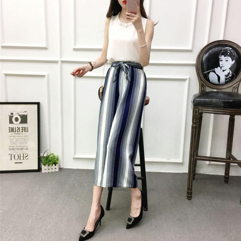 ETOSELL Women New Summer Wide Leg Pants Casual Loose High Elastic Waist Harem Pants Loose Belt Striped Elasticated Trousers 17