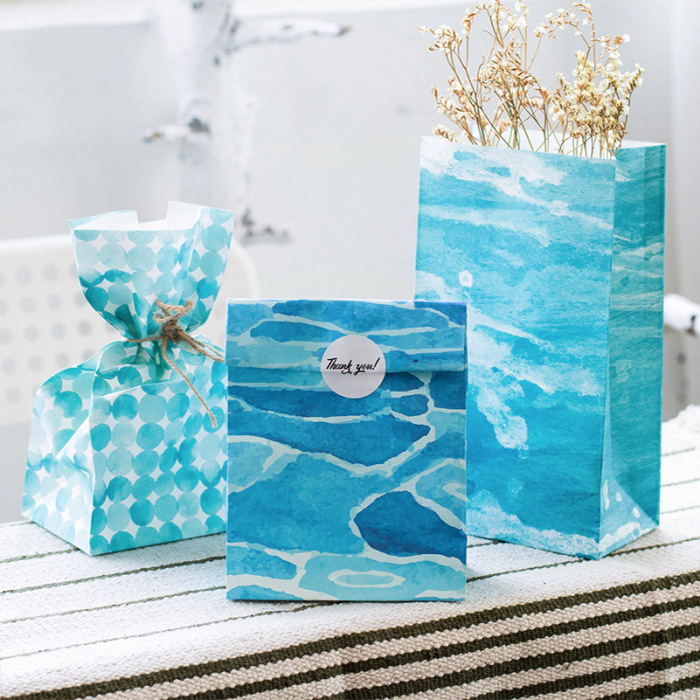 9 Sets Paper Bag Ocean Wave Design Gift Packaging Birthday Party Candy  HoldingGift Wrap Storage Bag On Aliexpress.com | Alibaba Group