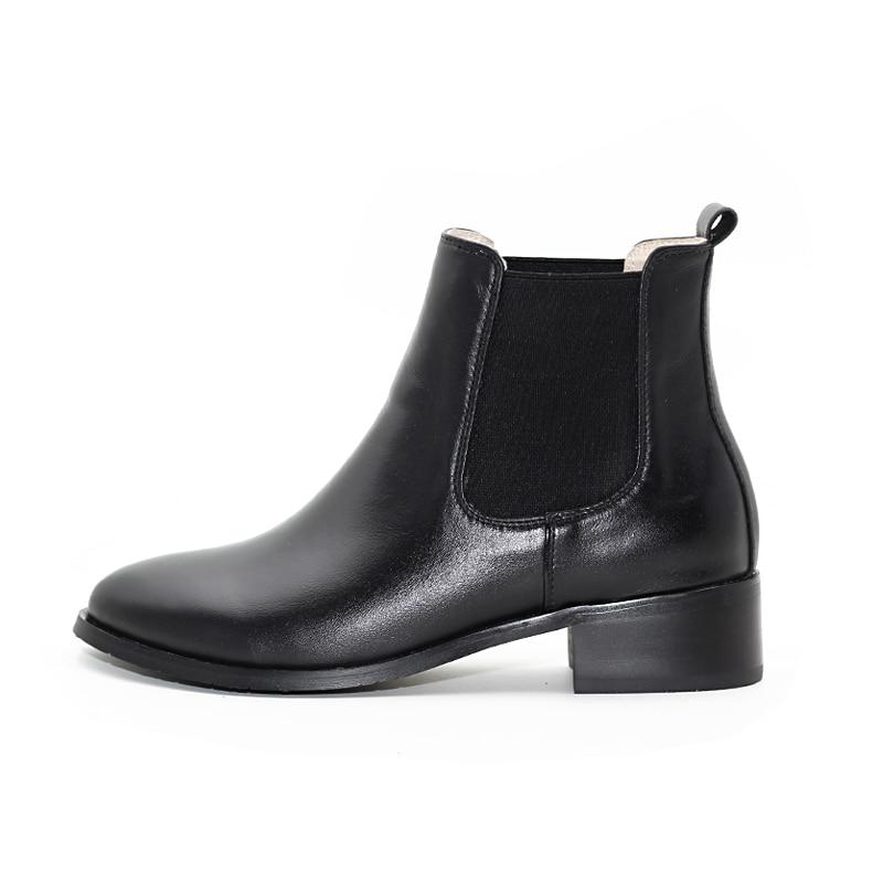Toe Nuevo Tamaño Zapatos Martin black red Negro Inferior Elástico Brown Carved Banda De Botas Punta Mujeres Chelsea 2018 Black Pequeño yellow Plana Cortas 78wSnqpSxd