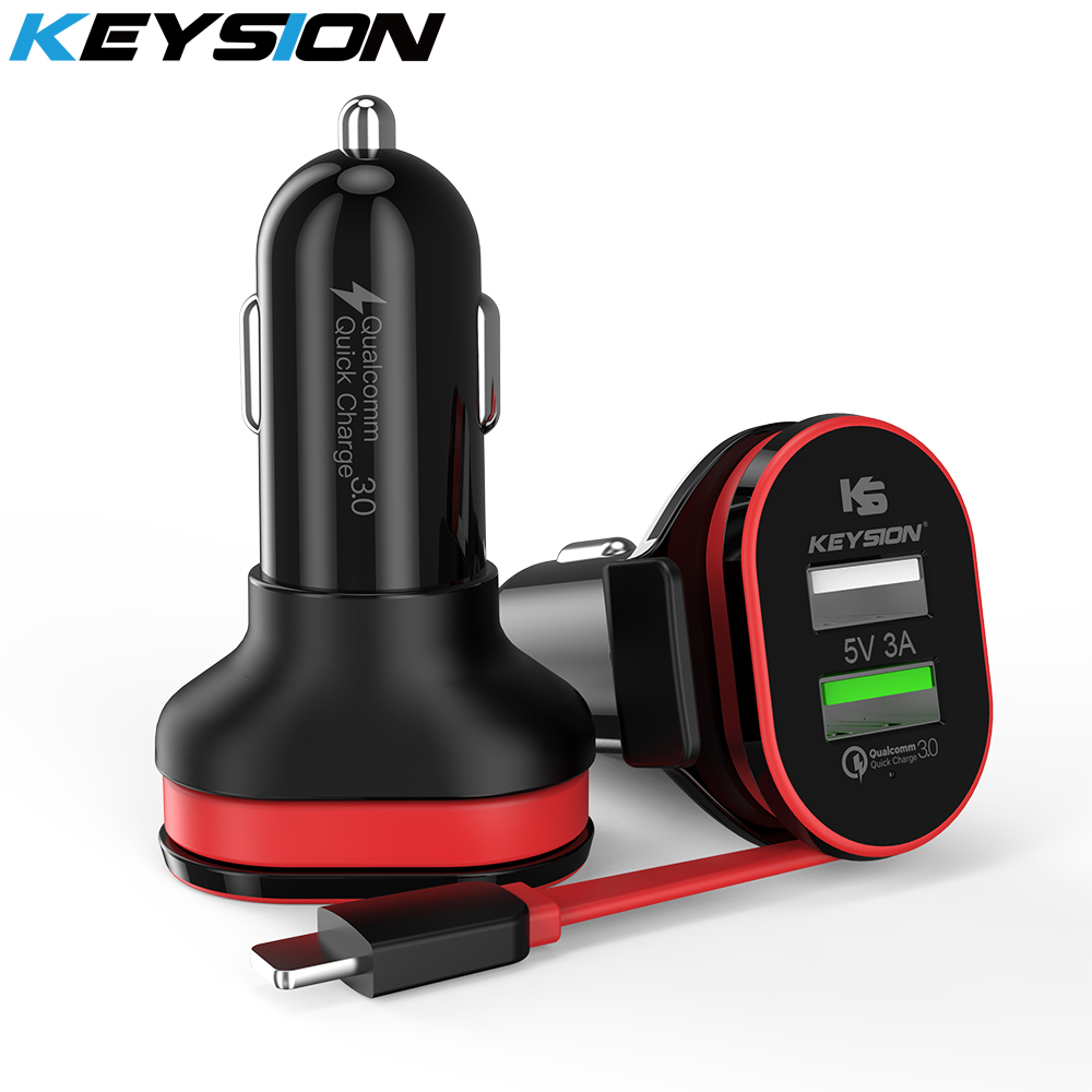 KEYSION 2 Port 33W Quick Charge 3.0 Car Charger QC +5V/3A USB Fast Mobile Phone Travel Adapter car-charge With Cable