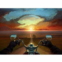 Motorcycle sunset diamond Embroidery diy painting mosaic diamant 3d cross stitch pictures H577