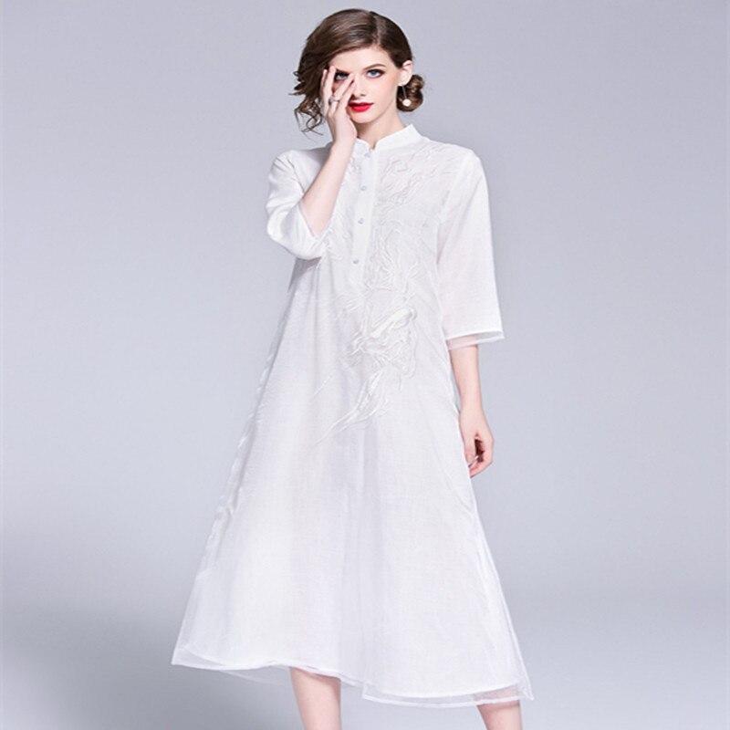 Blanco rojo Vintage Prom vestido femenino otoño 2018 mujeres exquisito bordado Becerro de La Manga del cuarto de tres más El vestido del tamaño 1950 s - 4