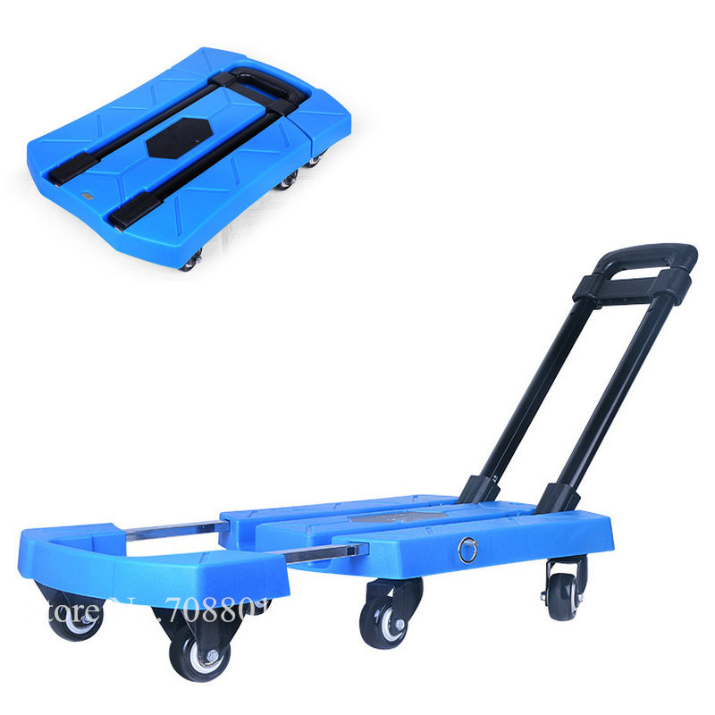 Foldable Flat Trolly Load 400LBS, 6 Wheels Household Truck with Rotary Lever, Extend Extra 12.5cm Portable Utility Cart