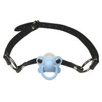 DDLG/ ABDL Adult Baby Blue Pacifier Gag With Black Choker Collar