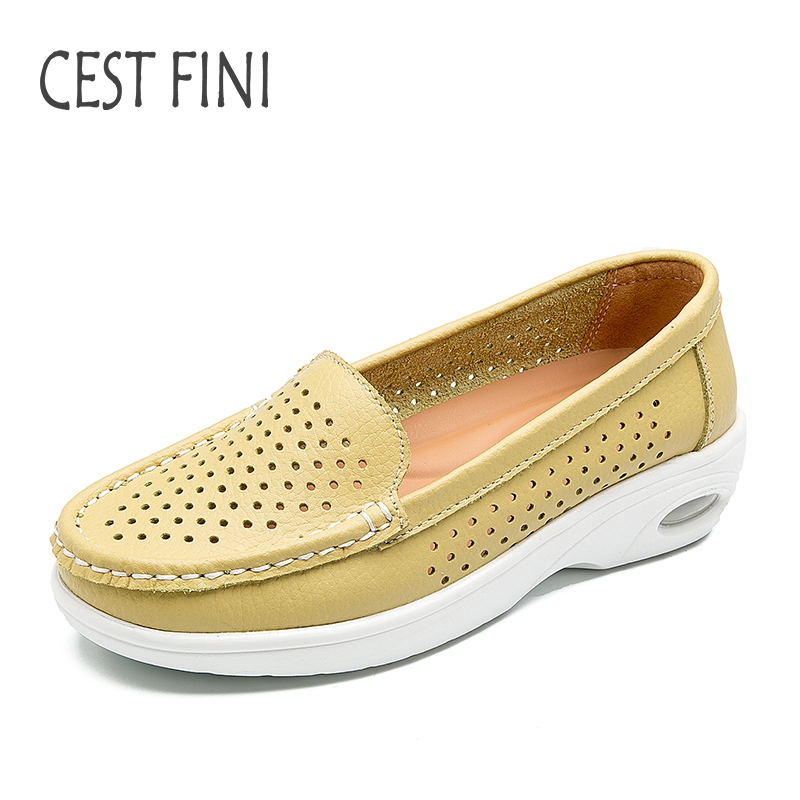 CESTFINI Summer Women Casual Shoes Flats Ladies Shoes Air cushion Mesh Breathable Genuine Leather Brand Women Loafers #F033  summer sandals women leather breathable mesh outdoor super light flats shoes all match casual shoes aa40140