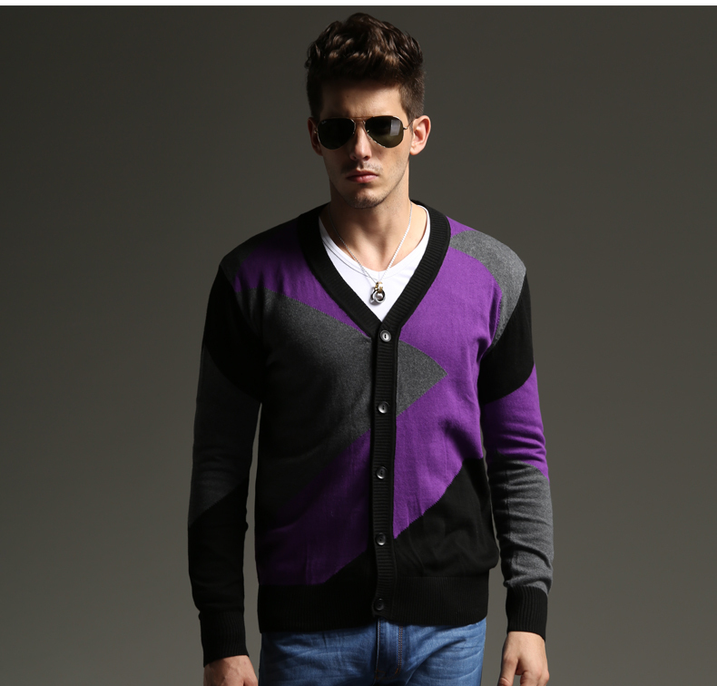 2014 new high quality fashion men's sweater V neck cardigans ...