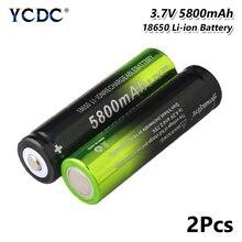 2x high capacity 5800mah 3.7v 18650 battery for dvd headlamp flashlight torchfor Laser Pen LED Flash light Cell holder