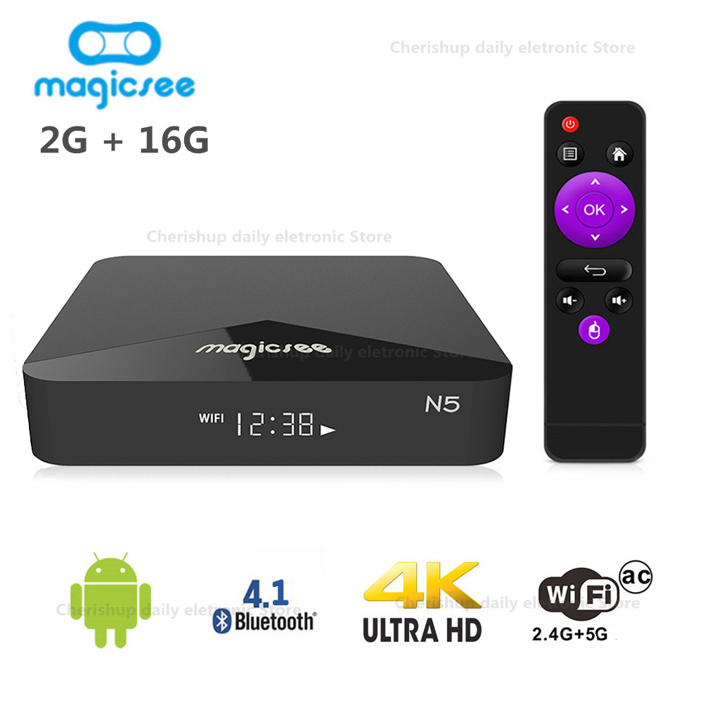лучшая цена MAGICSEE N5 Android TV Box OS TV Box Amlogic S905X Android 7.1.2 2GB RAM 16GB ROM 2.4G 5G WiFi 100Mbps BT4.1 Support 4K H.265